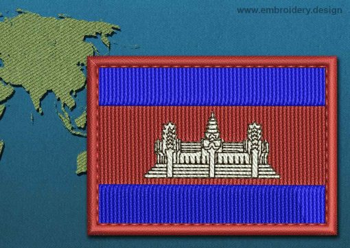 This Flag of Cambodia Rectangle with a Colour Coded border design was digitized and embroidered by www.embroidery.design.