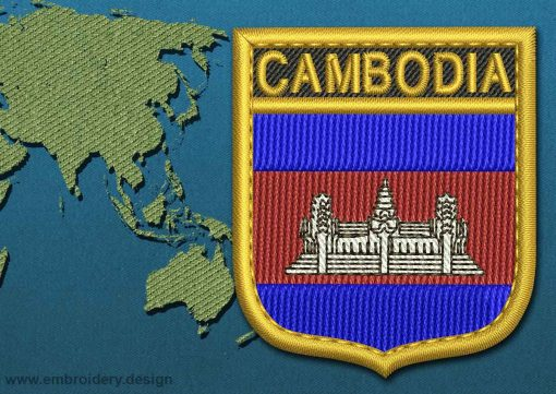 This Flag of Cambodia Shield with a Gold border design was digitized and embroidered by www.embroidery.design.