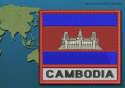 This Flag of Cambodia Text with a Colour Coded border design was digitized and embroidered by www.embroidery.design.