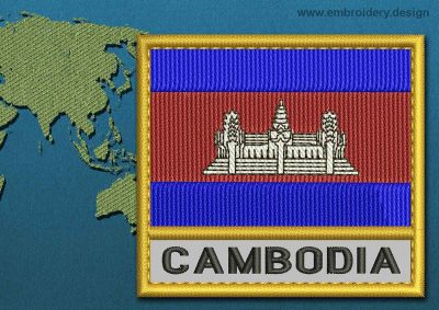 This Flag of Cambodia Text with a Gold border design was digitized and embroidered by www.embroidery.design.