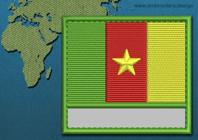 This Flag of Cameroon Customizable Text  with a Colour Coded border design was digitized and embroidered by www.embroidery.design.