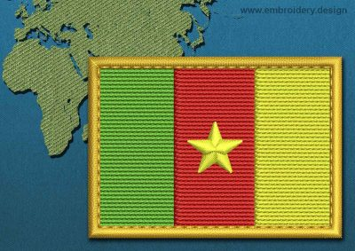 This Flag of Cameroon Rectangle with a Gold border design was digitized and embroidered by www.embroidery.design.