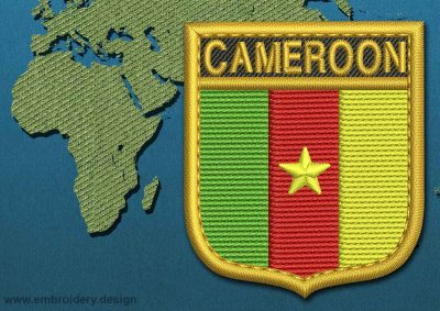 This Flag of Cameroon Shield with a Gold border design was digitized and embroidered by www.embroidery.design.