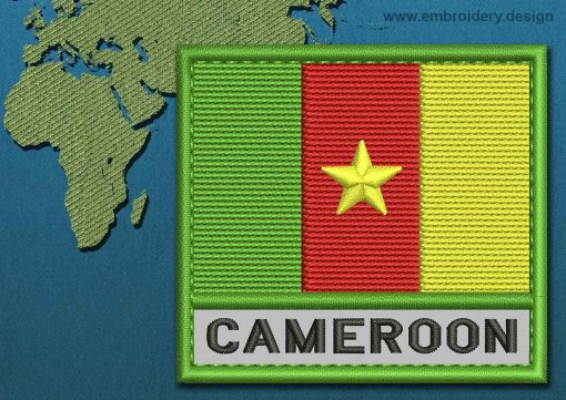 This Flag of Cameroon Text with a Colour Coded border design was digitized and embroidered by www.embroidery.design.