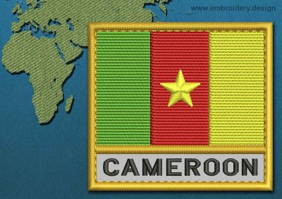 This Flag of Cameroon Text with a Gold border design was digitized and embroidered by www.embroidery.design.