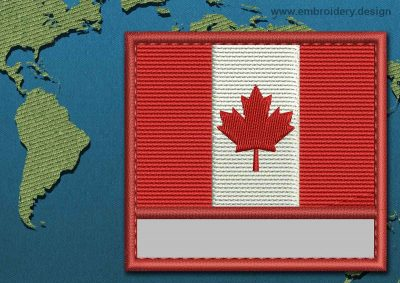 This Flag of Canada Customizable Text  with a Colour Coded border design was digitized and embroidered by www.embroidery.design.