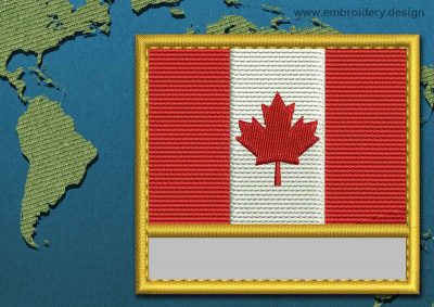 This Flag of Canada Customizable Text  with a Gold border design was digitized and embroidered by www.embroidery.design.