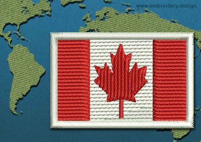 This Flag of Canada Mini with a Colour Coded border design was digitized and embroidered by www.embroidery.design.