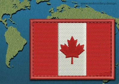 This Flag of Canada Rectangle with a Colour Coded border design was digitized and embroidered by www.embroidery.design.