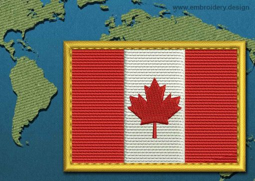This Flag of Canada Rectangle with a Gold border design was digitized and embroidered by www.embroidery.design.
