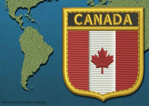 This Flag of Canada Shield with a Gold border design was digitized and embroidered by www.embroidery.design.