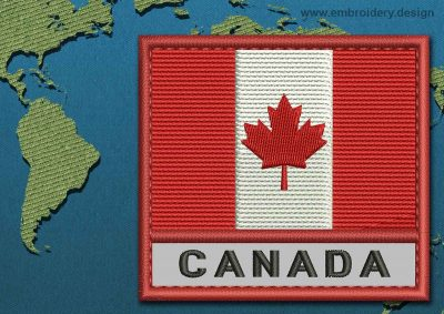 This Flag of Canada Text with a Colour Coded border design was digitized and embroidered by www.embroidery.design.
