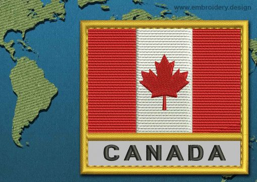 This Flag of Canada Text with a Gold border design was digitized and embroidered by www.embroidery.design.