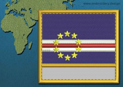 This Flag of Cape Verde Customizable Text  with a Gold border design was digitized and embroidered by www.embroidery.design.