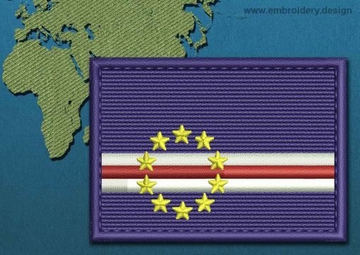 This Flag of Cape Verde Rectangle with a Colour Coded border design was digitized and embroidered by www.embroidery.design.