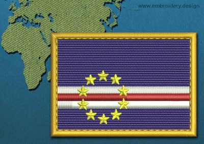 This Flag of Cape Verde Rectangle with a Gold border design was digitized and embroidered by www.embroidery.design.