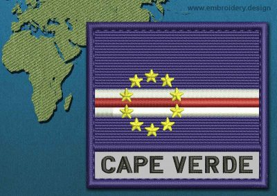 This Flag of Cape Verde Text with a Colour Coded border design was digitized and embroidered by www.embroidery.design.