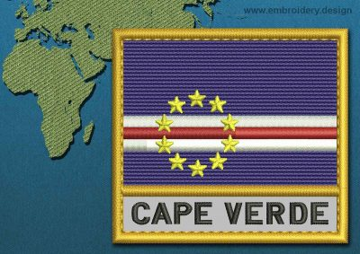 This Flag of Cape Verde Text with a Gold border design was digitized and embroidered by www.embroidery.design.