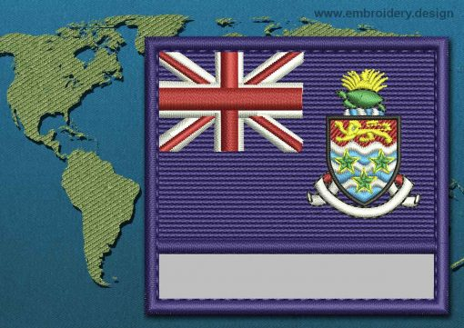 This Flag of Cayman Islands Customizable Text  with a Colour Coded border design was digitized and embroidered by www.embroidery.design.