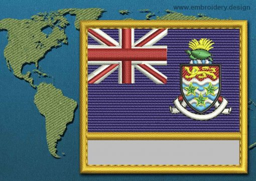 This Flag of Cayman Islands Customizable Text  with a Gold border design was digitized and embroidered by www.embroidery.design.