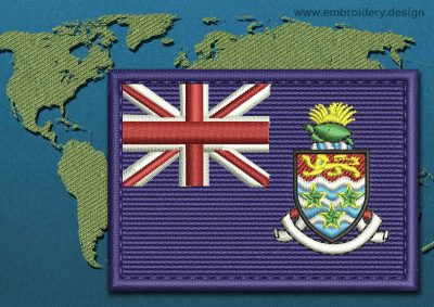 This Flag of Cayman Islands Rectangle with a Colour Coded border design was digitized and embroidered by www.embroidery.design.
