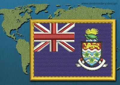 This Flag of Cayman Islands Rectangle with a Gold border design was digitized and embroidered by www.embroidery.design.