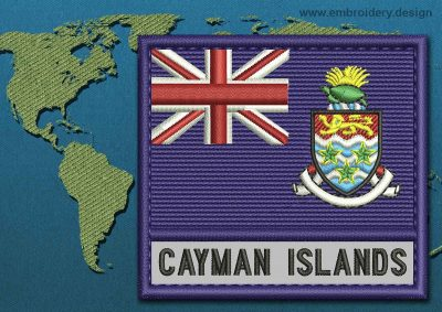 This Flag of Cayman Islands Text with a Colour Coded border design was digitized and embroidered by www.embroidery.design.