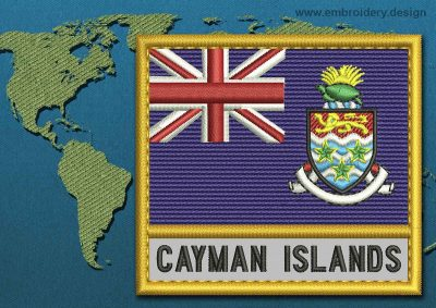 This Flag of Cayman Islands Text with a Gold border design was digitized and embroidered by www.embroidery.design.
