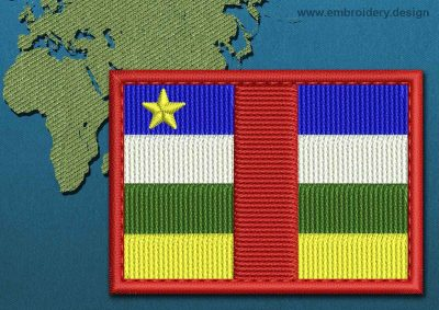 This Flag of Central African Republic Rectangle with a Colour Coded border design was digitized and embroidered by www.embroidery.design.