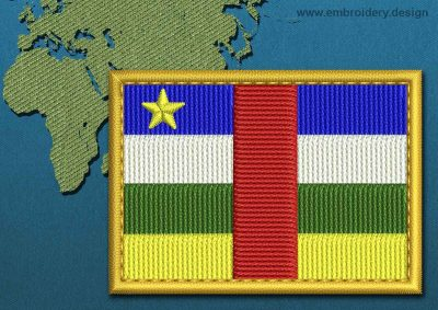 This Flag of Central African Republic Rectangle with a Gold border design was digitized and embroidered by www.embroidery.design.