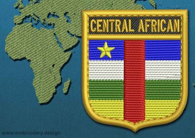 This Flag of Central African Republic Shield with a Gold border design was digitized and embroidered by www.embroidery.design.