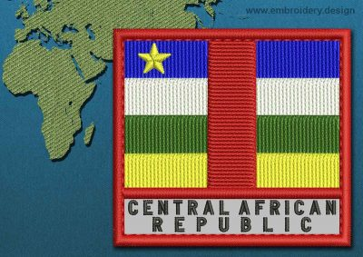 This Flag of Central African Republic Text with a Colour Coded border design was digitized and embroidered by www.embroidery.design.