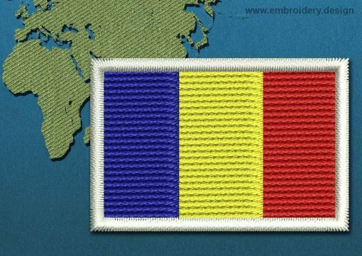 This Flag of Chad Mini with a Colour Coded border design was digitized and embroidered by www.embroidery.design.