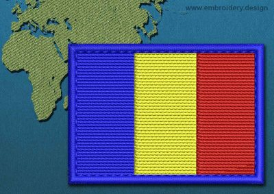 This Flag of Chad Rectangle with a Colour Coded border design was digitized and embroidered by www.embroidery.design.