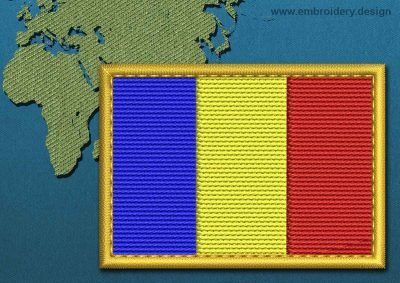 This Flag of Chad Rectangle with a Gold border design was digitized and embroidered by www.embroidery.design.