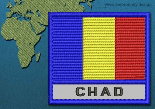 This Flag of Chad Text with a Colour Coded border design was digitized and embroidered by www.embroidery.design.