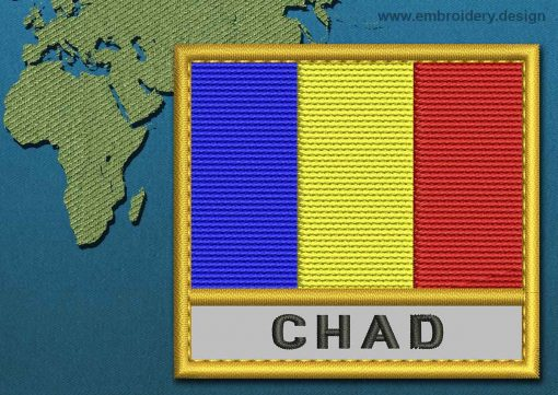 This Flag of Chad Text with a Gold border design was digitized and embroidered by www.embroidery.design.