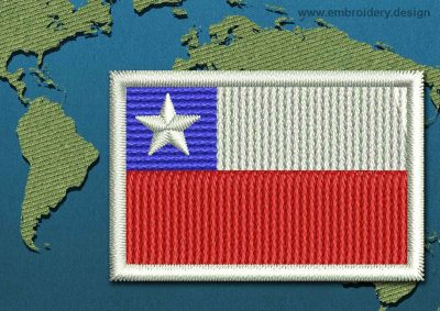 This Flag of Chile Mini with a Colour Coded border design was digitized and embroidered by www.embroidery.design.