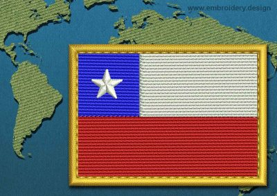 This Flag of Chile Rectangle with a Gold border design was digitized and embroidered by www.embroidery.design.
