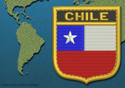 This Flag of Chile Shield with a Gold border design was digitized and embroidered by www.embroidery.design.