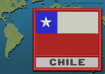 This Flag of Chile Text with a Colour Coded border design was digitized and embroidered by www.embroidery.design.