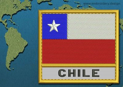 This Flag of Chile Text with a Gold border design was digitized and embroidered by www.embroidery.design.