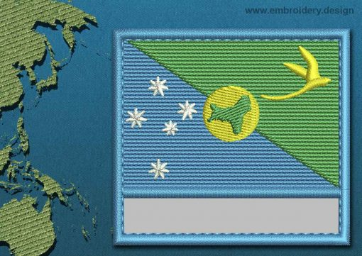 This Flag of Christmas Island Customizable Text  with a Colour Coded border design was digitized and embroidered by www.embroidery.design.