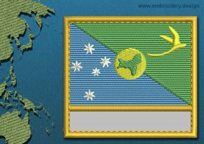 This Flag of Christmas Island Customizable Text  with a Gold border design was digitized and embroidered by www.embroidery.design.