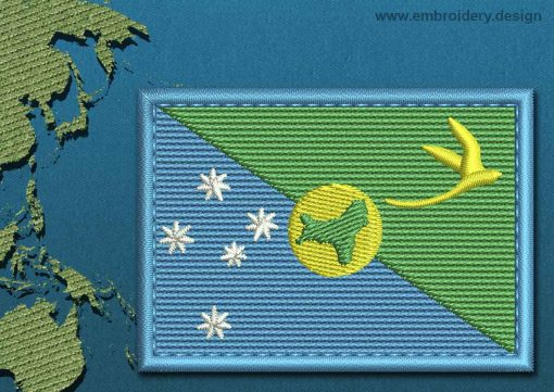 This Flag of Christmas Island Rectangle with a Colour Coded border design was digitized and embroidered by www.embroidery.design.