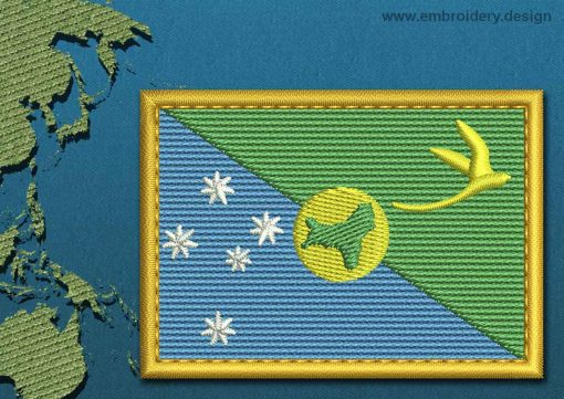 This Flag of Christmas Island Rectangle with a Gold border design was digitized and embroidered by www.embroidery.design.