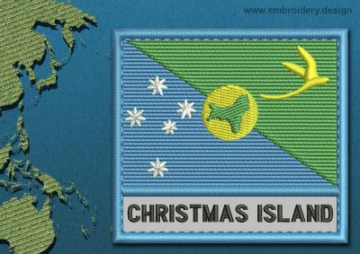 This Flag of Christmas Island Text with a Colour Coded border design was digitized and embroidered by www.embroidery.design.