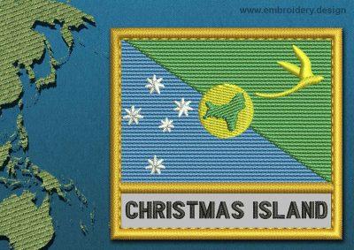This Flag of Christmas Island Text with a Gold border design was digitized and embroidered by www.embroidery.design.