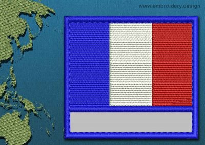 This Flag of Clipperton Island Customizable Text  with a Colour Coded border design was digitized and embroidered by www.embroidery.design.