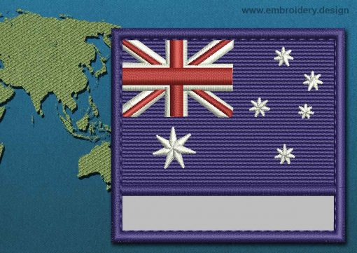 This Flag of Cocos (Keeling) Islands Customizable Text  with a Colour Coded border design was digitized and embroidered by www.embroidery.design.